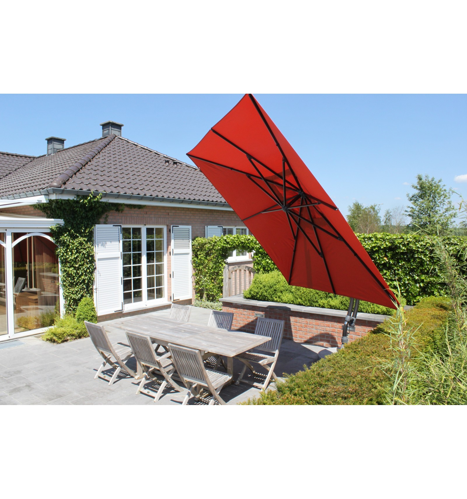 sun garden easy sun cantilever parasol square without flaps olefin terracotta canvas - Sun Garden
