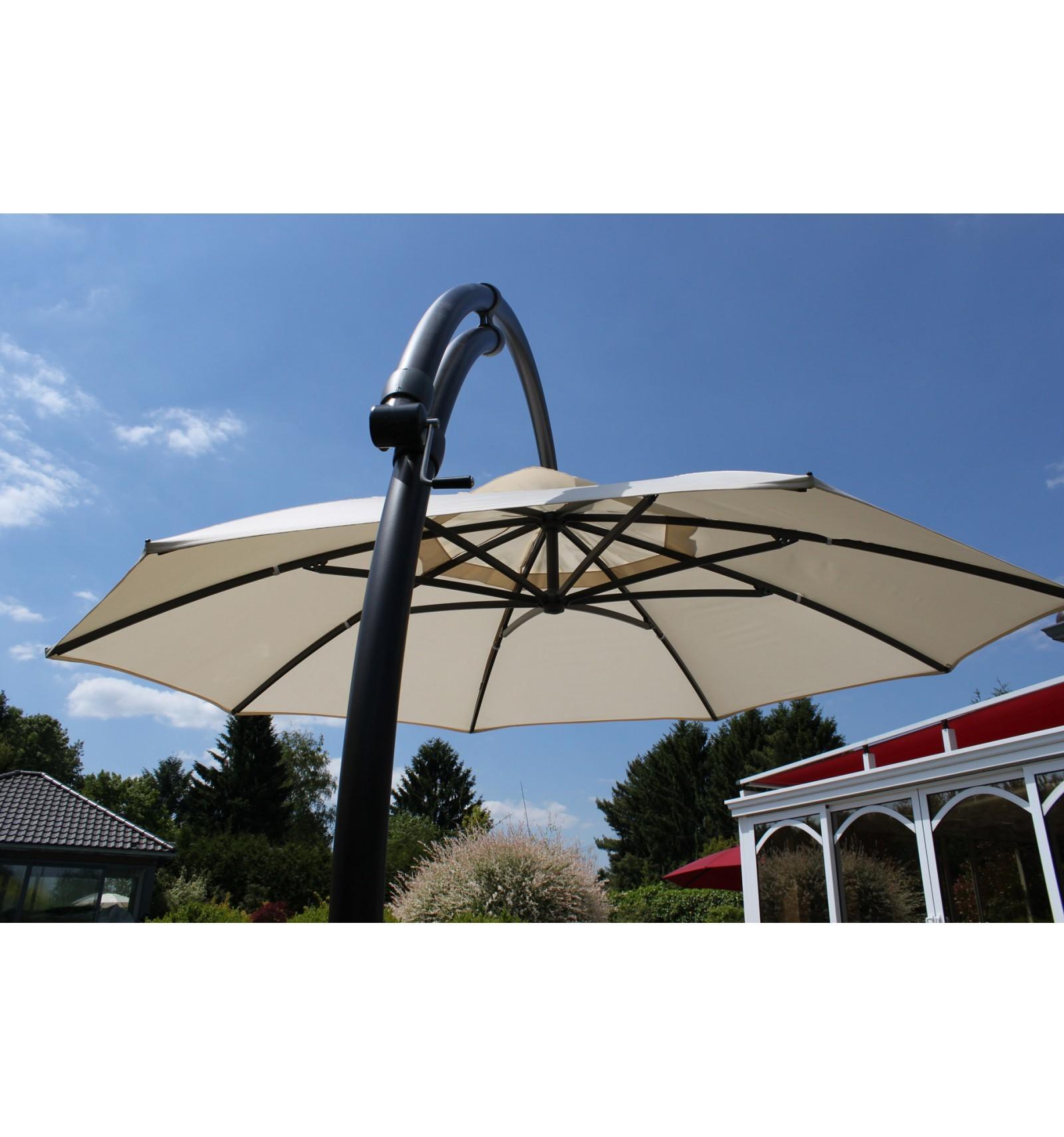 Parasol déporté Easy Sun rond XL sans volants Taupe clair