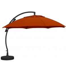 Sun Garden - Easy Sun cantilever parasol XL Round without flaps - Olefin Terracotta canvas