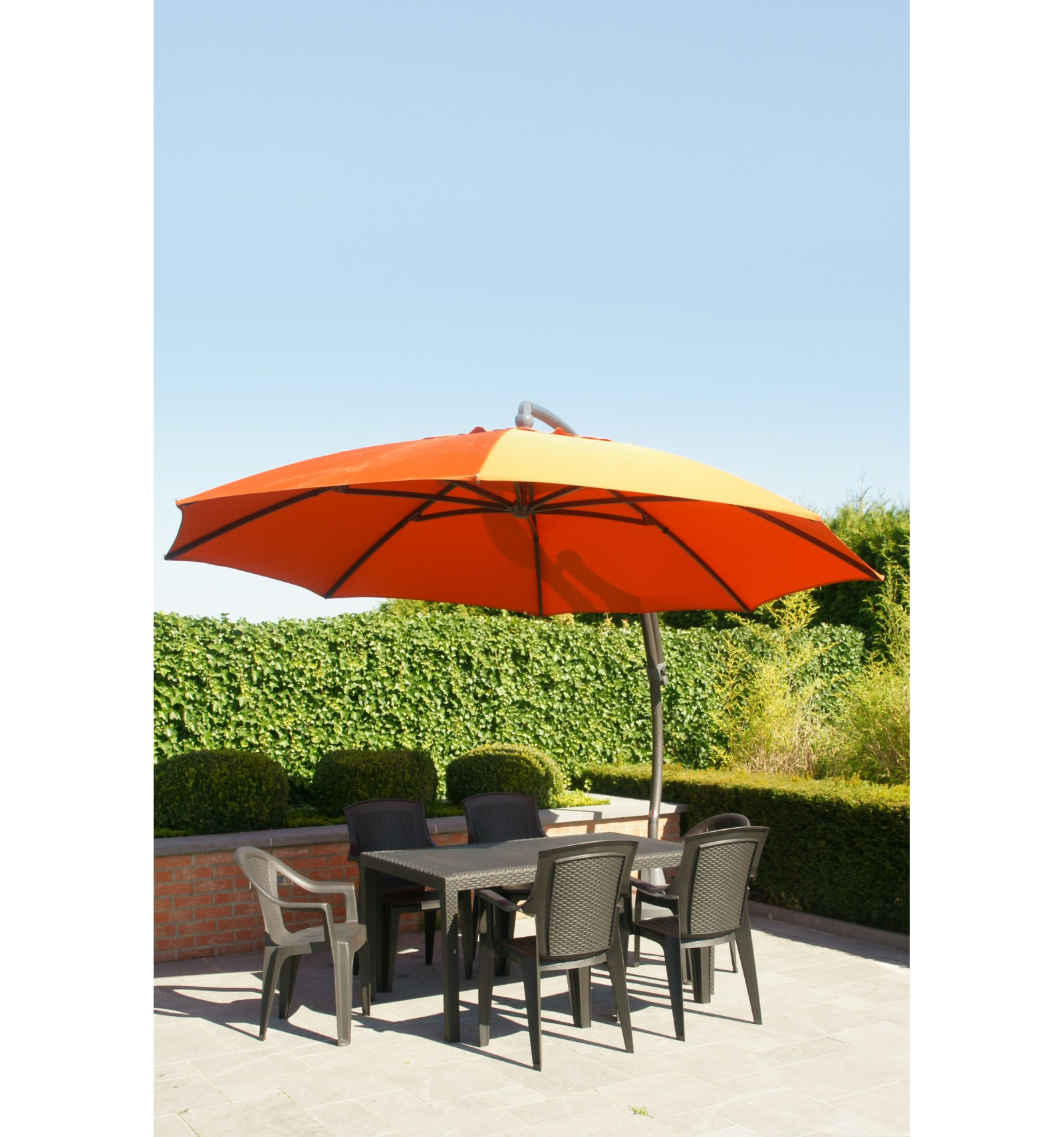 Superior ... Sun Garden   Easy Sun Cantilever Parasol XL Round Without Flaps    Olefin Terracotta Canvas ...