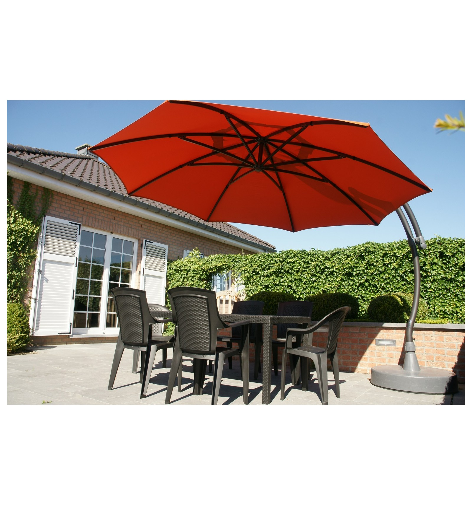 parasol d port easy sun rond xl sans volants terracotta. Black Bedroom Furniture Sets. Home Design Ideas