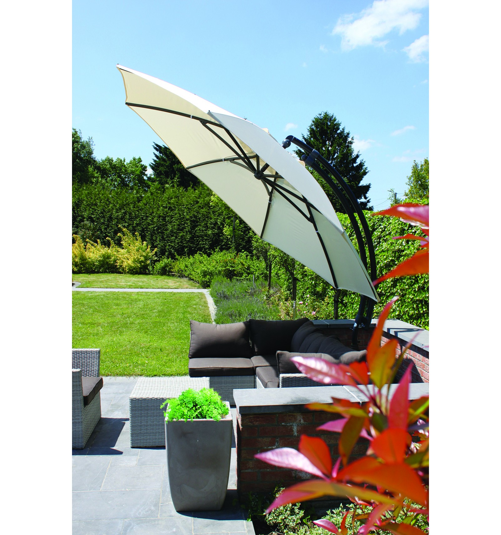 Marvelous ... Sun Garden   Easy Sun Cantilever Parasol XL Round Without Flaps    Polyester Beige Canvas ...