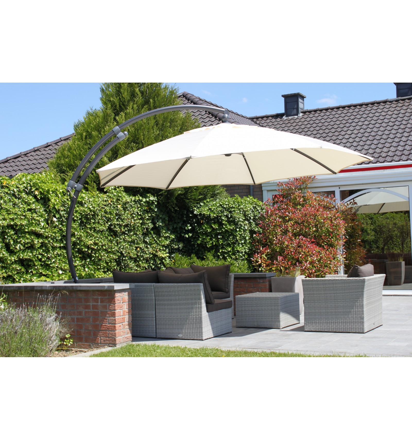 ... Sun Garden   Easy Sun Cantilever Parasol XL Round Without Flaps    Polyester Beige Canvas ...
