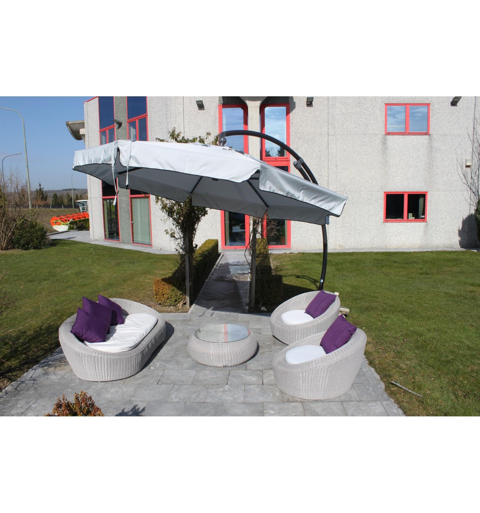 toile de remplacement gris clair en olefin pour parasol. Black Bedroom Furniture Sets. Home Design Ideas