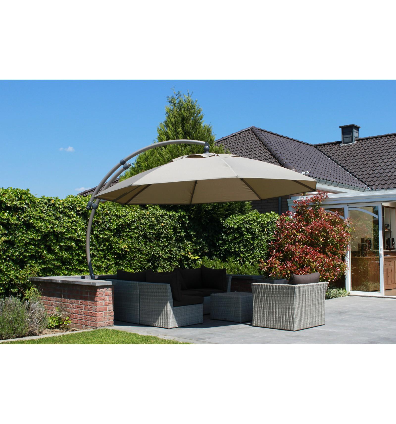 toile de remplacement taupe en olefin pour parasol easy sun 375. Black Bedroom Furniture Sets. Home Design Ideas