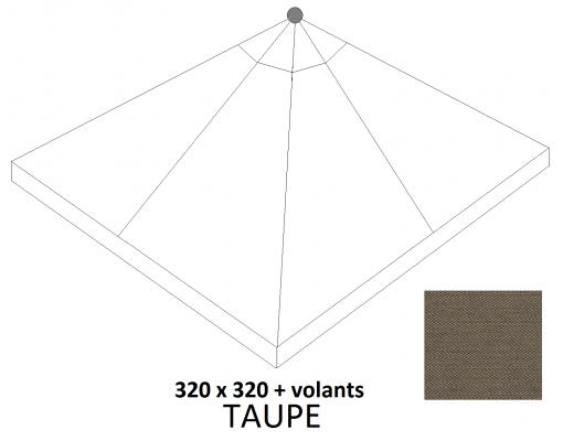 Toile de remplacement Taupe en Olefin avec volants pour parasol Easy Sun 320