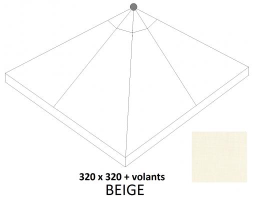 Toile de remplacement Beige en Olefin avec volants pour parasol Easy Sun 320