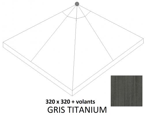 Toile de remplacement Titanium en Olefin avec volants pour parasol Easy Sun 320