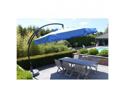 Parasol déporté Sun Garden - Easy Sun classique avec volants - toile Olefin bleu pétrole