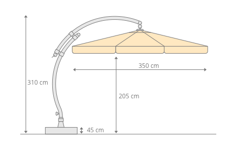 Parasol déporté Sun Garden - Easy Sun classique avec volants - toile Olefin Terracotta