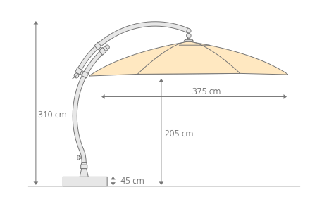 Parasol déporté Sun Garden - Easy Sun rond XL sans volants - toile Olefin Gris clair