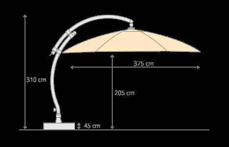 Parasol déporté Sun Garden - Easy Sun rond XL sans volants - toile Polyester Taupe